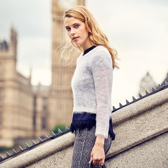 female model walking in london