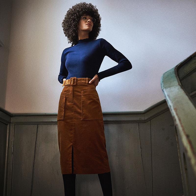 female model in cord