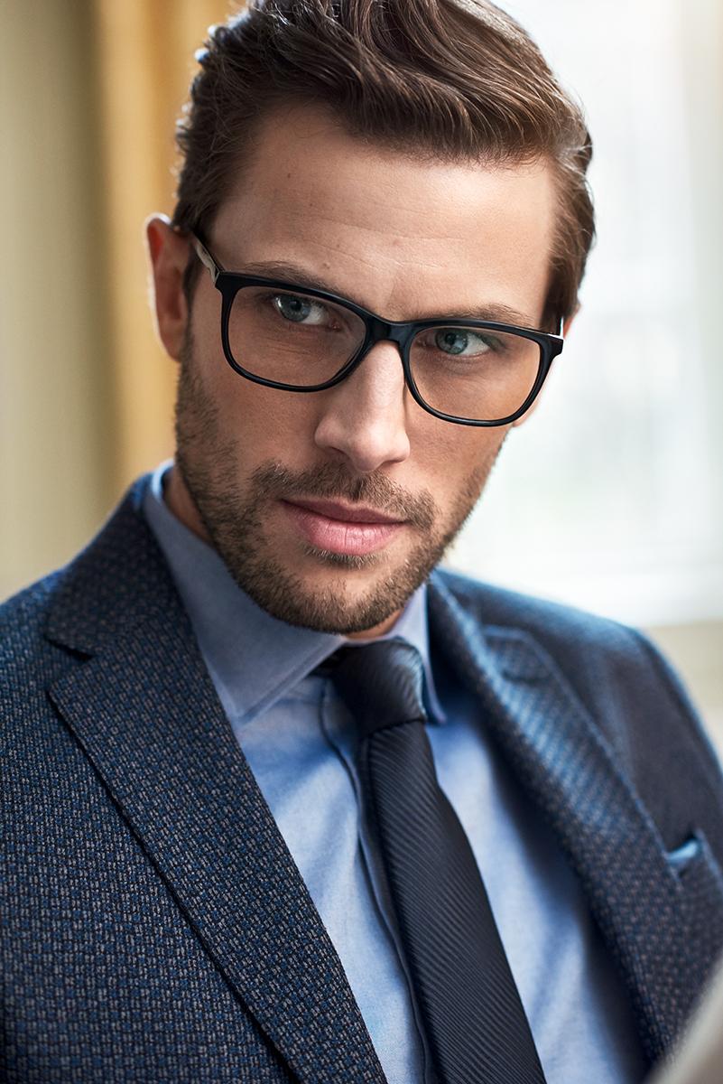 male model wearing glasses